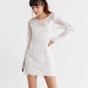 UO lace bell sleeve mini dress